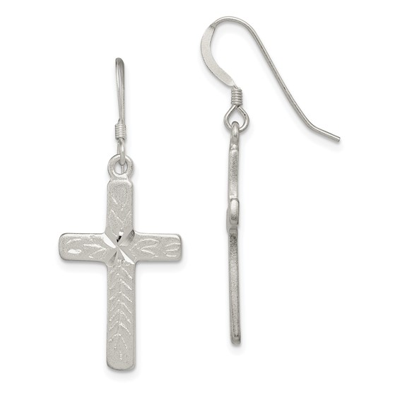 Sterling Silver 1in Textured Cross Shepherd Hook Earrings