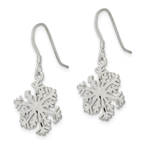 Sterling Silver Satin Snowflake Earrings