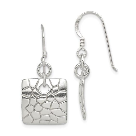 Sterling Silver Laser Cut Square Dangle Earrings