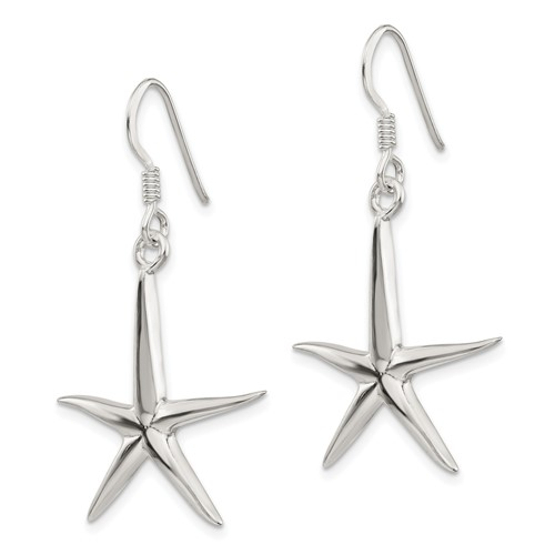 Sterling Silver 1 1/2in Starfish Dangle Earrings