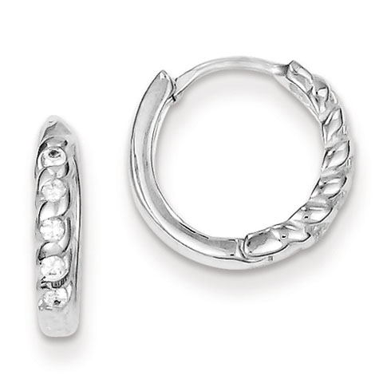 Sterling Silver 1/2in Cubic Zirconia Huggie Earrings