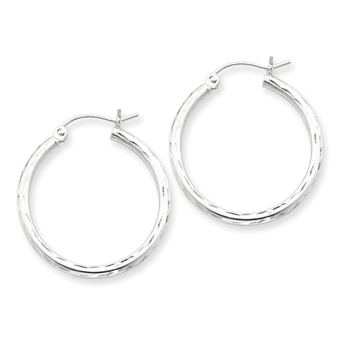 Sterling Silver 15/16in x 2mm Diamond-cut Hoop Earrings