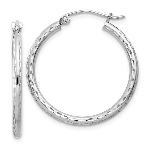 15/16in x 2mm Diamond-cut Hoop Earrings