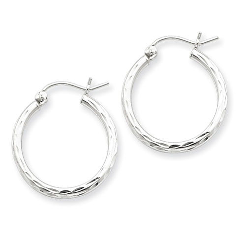 Sterling Silver 3/4in x 2mm Diamond-cut Hoop Earrings