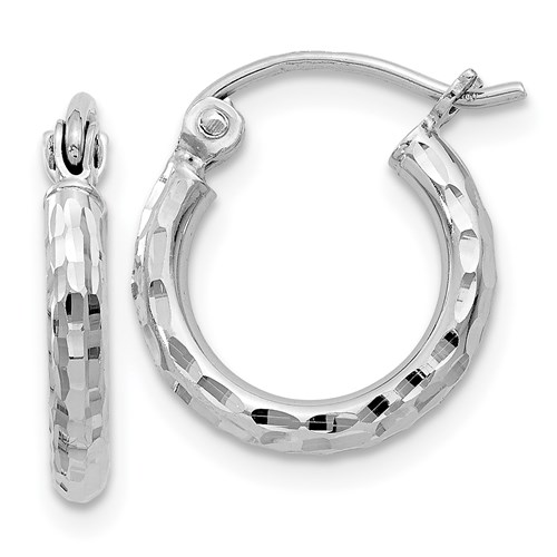 Sterling Silver 1/2in x 2mm Diamond-cut Hoop Earrings