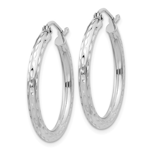 Sterling Silver 1in Diamond-cut Hoop Earrings 2.25mm