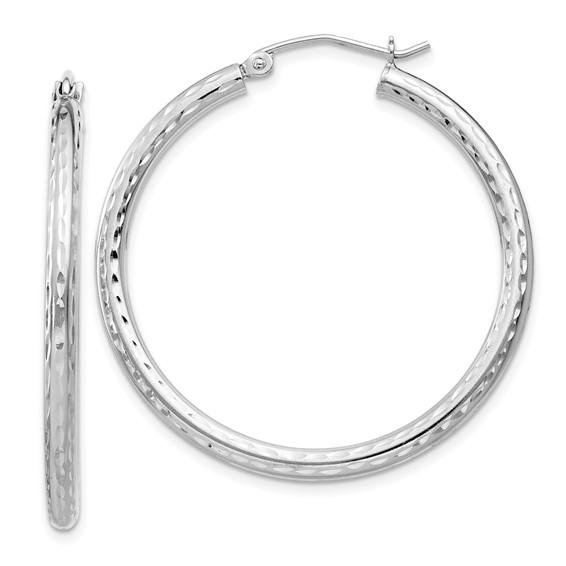 Sterling Silver 1 1/8in Diamond-cut Hoop Earrings 2.25mm