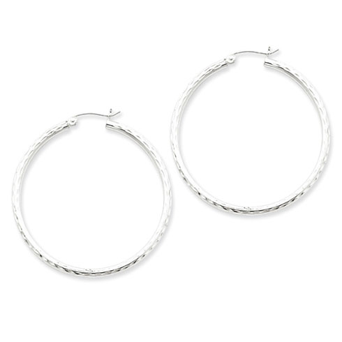 Sterling Silver 1 1/2in Diamond-cut Hoop Earrings 2.25mm