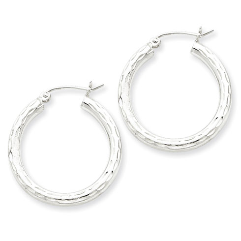 Sterling Silver 1in Diamond-cut Hoop Earrings 3mm