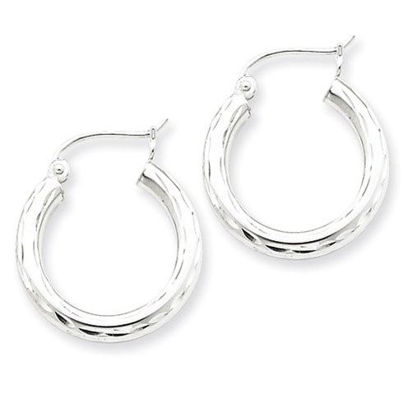 Sterling Silver 3/4in Diamond-cut Hoop Earrings 3mm