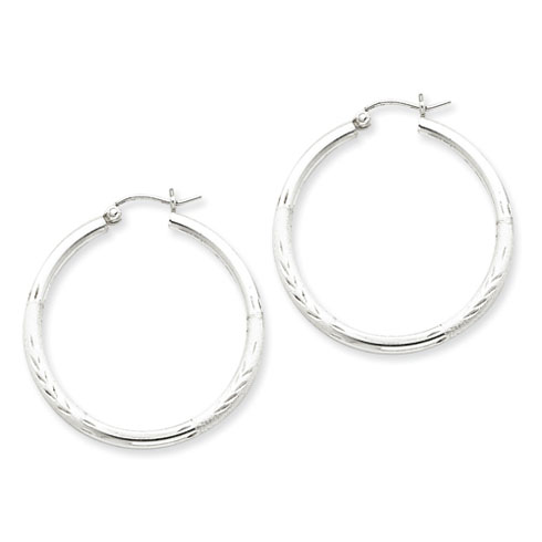 Sterling Silver 1 1/4in Satin Diamond-cut Hoop Earrings 2.5mm