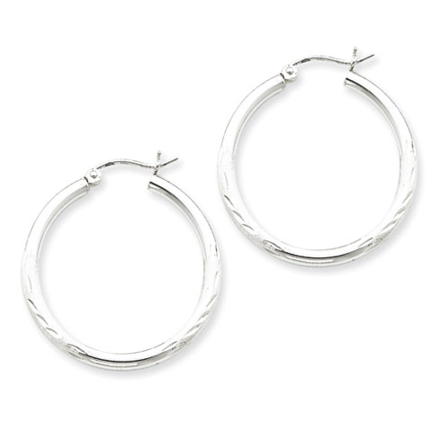 Sterling Silver 1 1/8in x 2.5mm Satin Diamond-cut Hoop Earrings