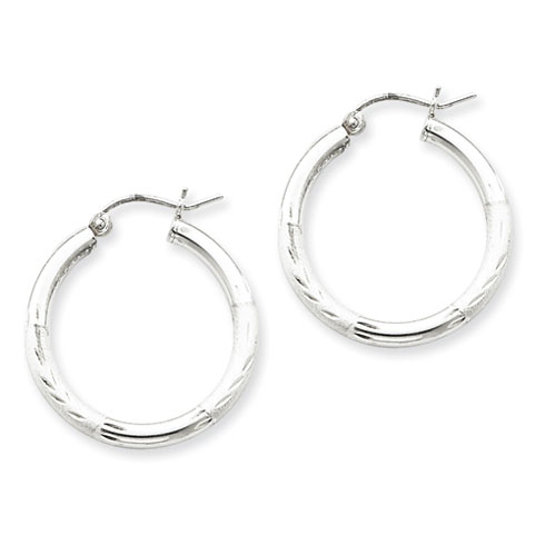 1in x 2.5mm Satin Diamond-cut Hoop Earrings