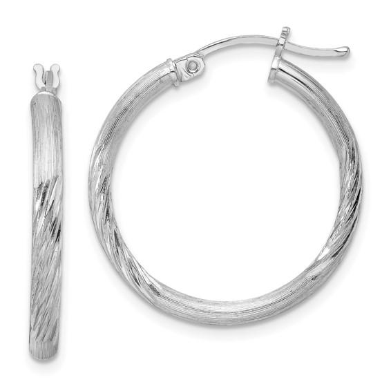 1in x 2.5mm Satin Diamond-cut Hoop Earrings