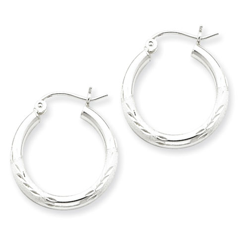 3/4in x 2.5mm Satin Diamond-Cut Hoop Earrings