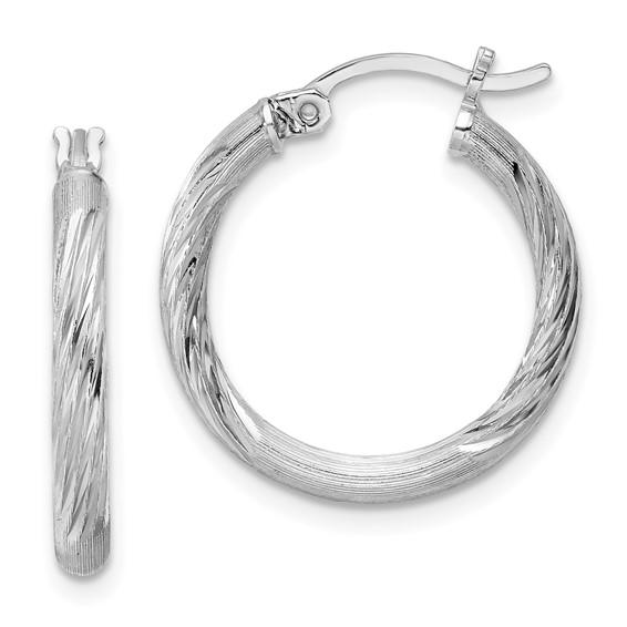 3/4in x 2.5mm Satin Diamond-Cut Hoop Earrings