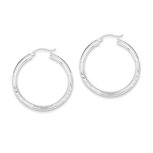 Sterling Silver 1 5/8in x 3mm Satin Diamond-cut Hoop Earrings