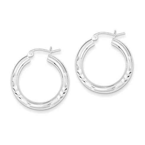 Sterling Silver 1in x 3mm Satin Diamond-cut Hoop Earrings