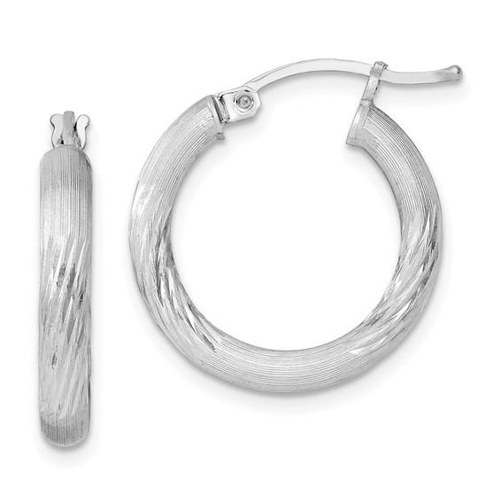 3/4in x 3mm Satin Diamond-cut Hoop Earrings