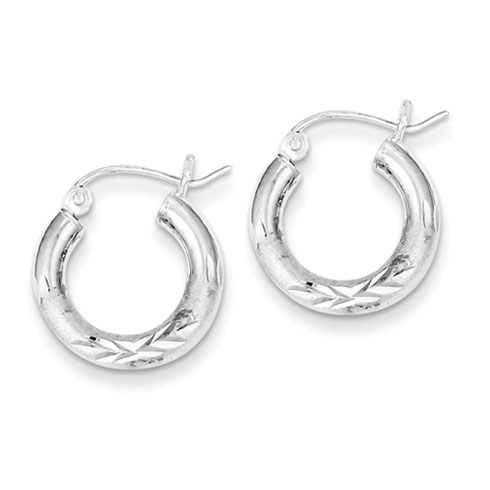 Sterling Silver 5/8in Satin Diamond-cut Hoop Earrings 3mm