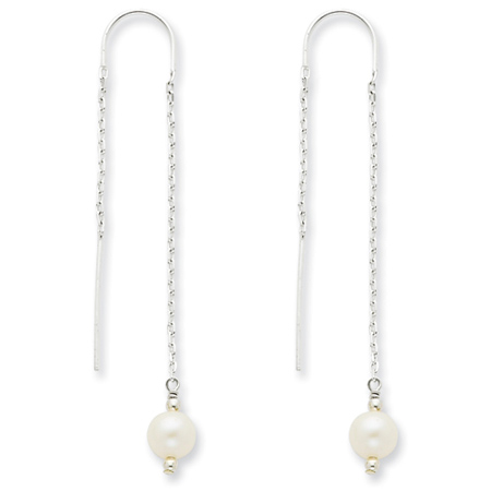 Sterling Silver White Cultured Pearl Threader Earrings
