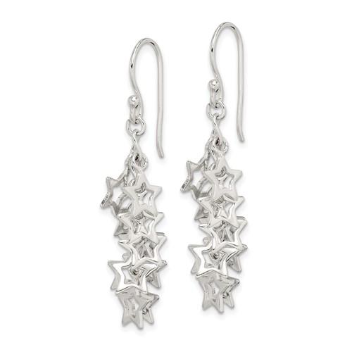 Sterling Silver Multi-Stars Dangle Earrings