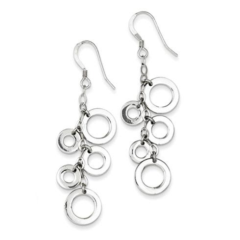 Sterling Silver Multi-Circle Drop Earrings