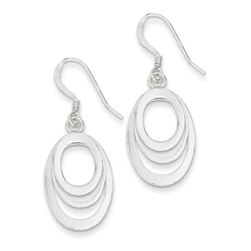 Sterling Silver Oval Cut-out Dangle Earrings