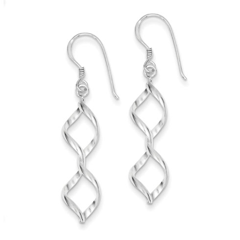 Sterling Silver Fancy Helix Knot Earrings 1 5/8in
