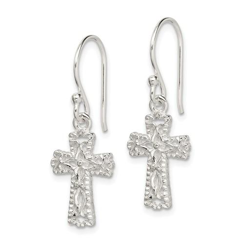 Sterling Silver 5/8in Cross Earrings with Sheperd Hooks