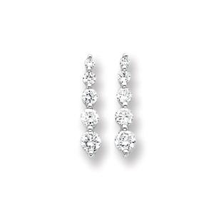 Sterling Silver 7/8in Cubic Zirconia Journey Earrings