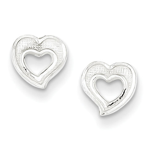 Sterling Silver 1/4in Cut-out Heart Earrings