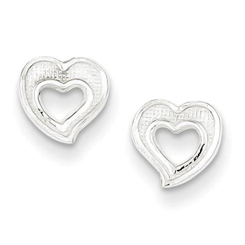 Sterling Silver 1/4in Cut-out Heart Earrings