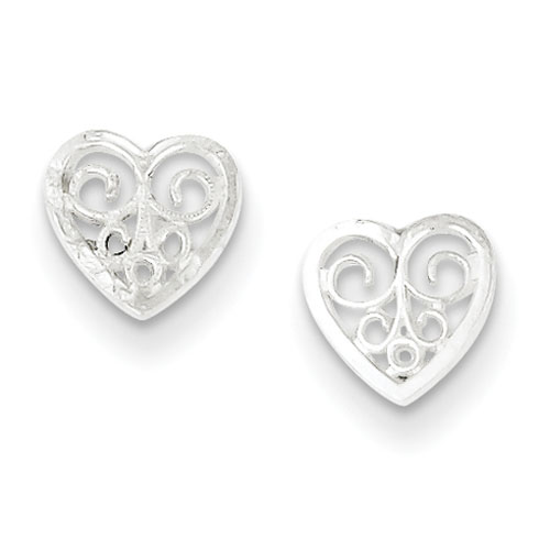 Sterling Silver 1/4in Filigree Heart Earrings