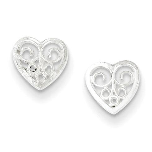 Sterling Silver 1/4in Filigree Heart Earrings