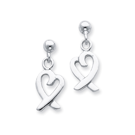 Sterling Silver Ribbon Heart Dangle Earrings