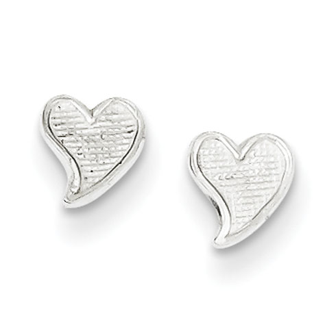 Sterling Silver Tiny Textured Heart Earrings