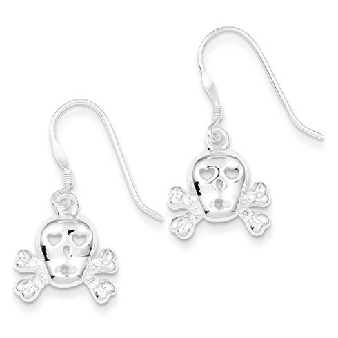 Sterling Silver Skull and Cross Bones Dangle Earrings