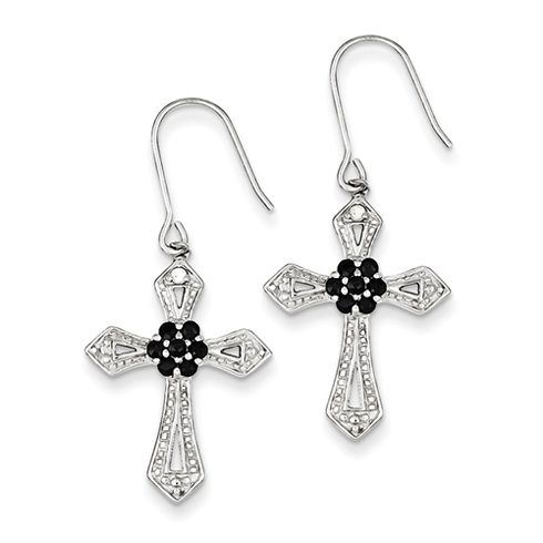 Sterling Silver Black CZ Cross Earrings with Diamond Accents