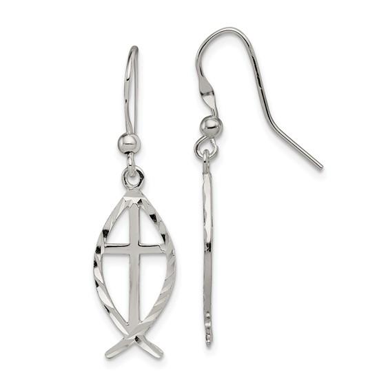 Sterling Silver 7/8in Diamond Cut Cross Ichthus Earrings