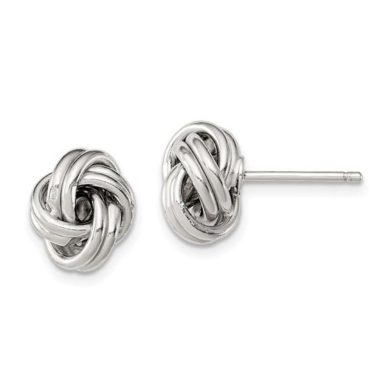 Sterling Silver 1/2in Love Knot Earrings