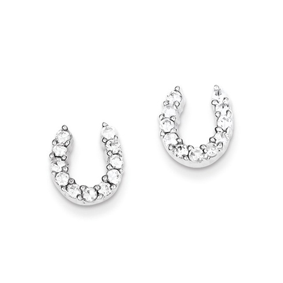Sterling Silver CZ Horseshoe Post Earrings