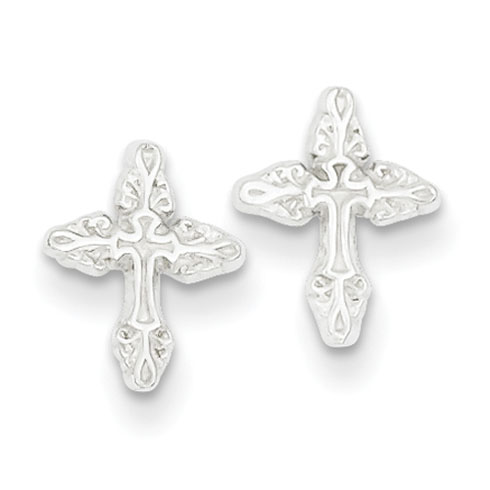 Mini Cross Earrings - Sterling Silver