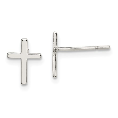 Sterling Silver 3/8in Mini Smooth Latin Cross Earrings