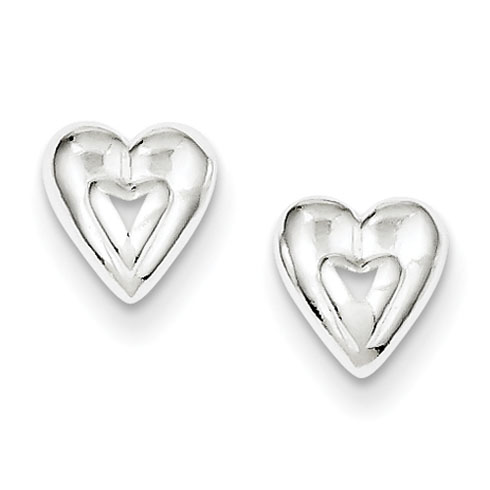 Sterling Silver Mini Stud Heart Earrings