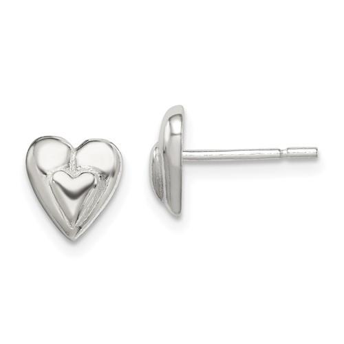 Sterling Silver Mini Stud Heart Earrings