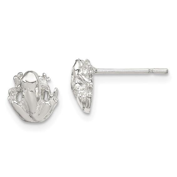 Sterling Silver Frog Mini Earrings