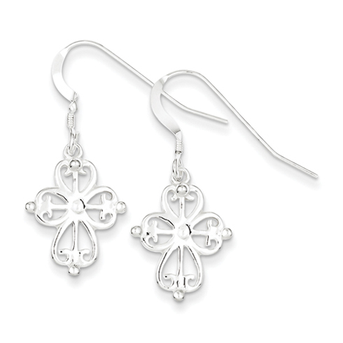 Sterling Silver 3/4in Cross Dangle Earrings