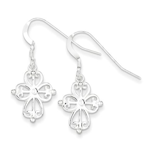 Sterling Silver 3/4in Cross Dangle Earrings