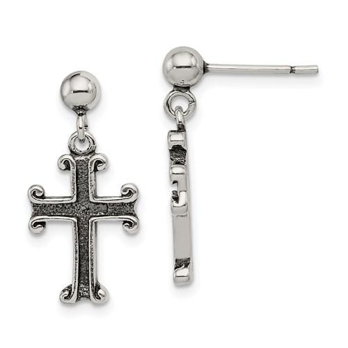 Sterling Silver 3/4in Antiqued Cross Post Earrings